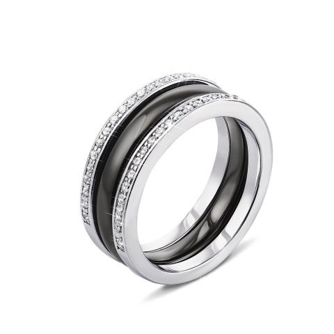 Потрійна срібна каблучка з керамікою і фіанітами (КК2ФК/1004-16.5)