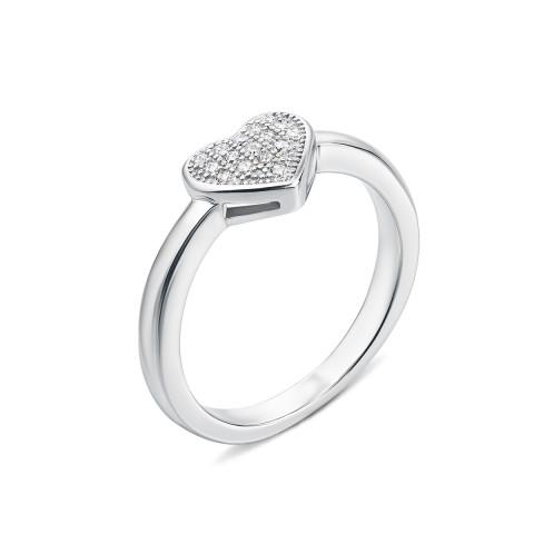 Срібна каблучка Серце з фіанітами (PSS0698-R/12/1)