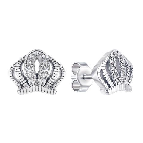 Срібні пусети Корона з фіанітами (FB289)