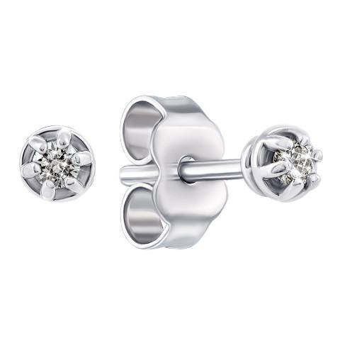 Срібні пусети з діамантами (СД-028ср)