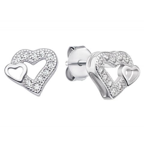 Срібні пусети «Серце» з фіанітами (SE746-E)