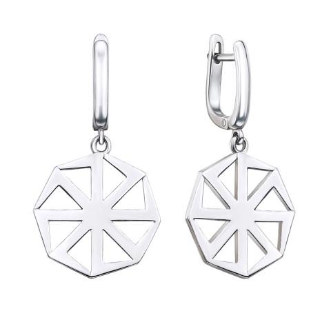 Срібні сережки-підвіски «Коловорот» (40356/12/1)