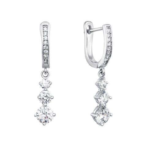 Срібні сережки-підвіски з фіанітами (PSS0536-E)