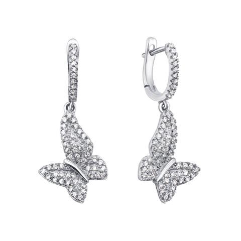 Срібні сережки-підвіски з фіанітами (PSS0769-E)
