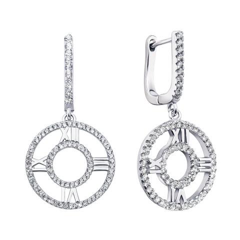 Срібні сережки-підвіски з фіанітами (PSS1009-E)