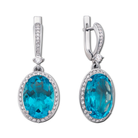 Срібні сережки-підвіски з блакитним кварцом і фіанітами (2180/9р)