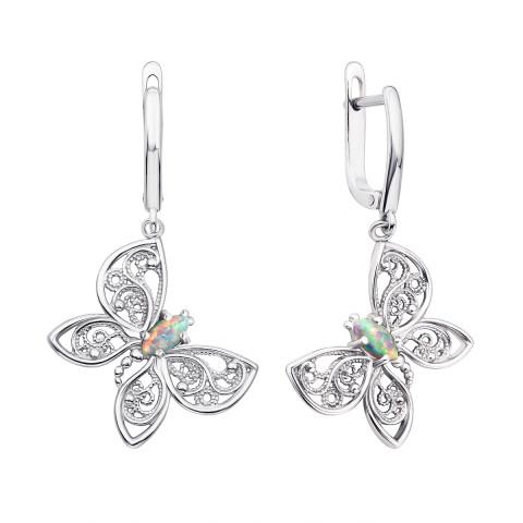 Срібні сережки-підвіски «Метелики» з опалом (40154/12/1/370 (с40154/опал))