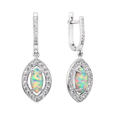 Срібні сережки-підвіски з опалом і фіанітами (40140/12/1/492)