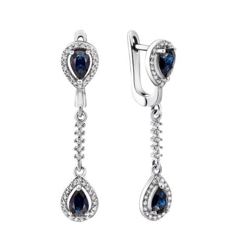 Срібні сережки-підвіски з сапфіром і фіанітами (Тд0049/сап-E)