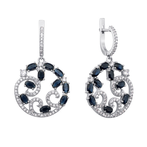 Срібні сережки-підвіски з гідротермальним сапфіром і фіанітами (2133/9р)