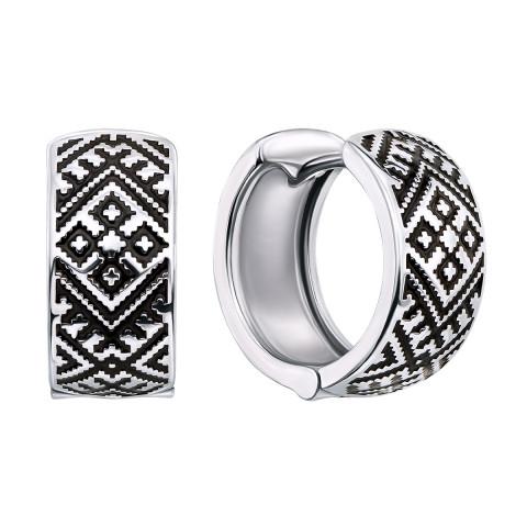 Срібні сережки «Ромб» (40347/12/1/389 (с40347/ч))