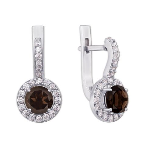 Срібні сережки з димчастим кварцом і фіанітами (2055/9р)