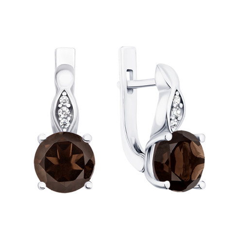 Срібні сережки з димчастим кварцом і фіанітами (2528/9р)