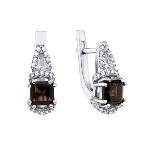 Срібні сережки з димчастим кварцом і фіанітами (2532/9р)