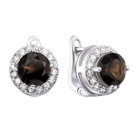 Срібні сережки з димчастим кварцем і фіанітами (Тд0008/раух-E)