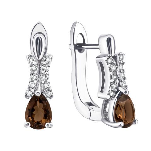 Срібні сережки з димчастим кварцом і фіанітами (Тд0061/раух-Е)