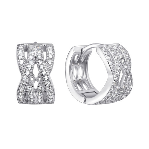 Срібні сережки з фіанітами (PERS0352-E)