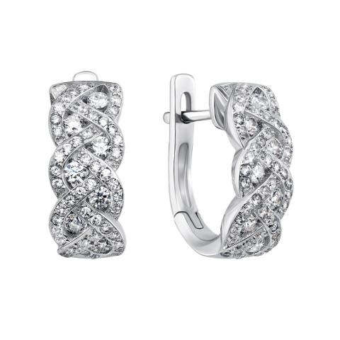 Срібні сережки з фіанітами (PSS0824-E)