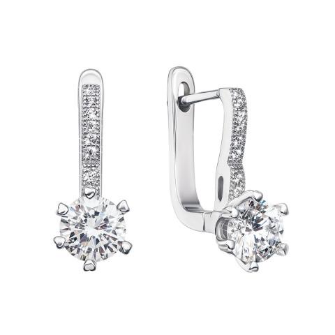 Срібні сережки з фіанітами (PSS0918-E)