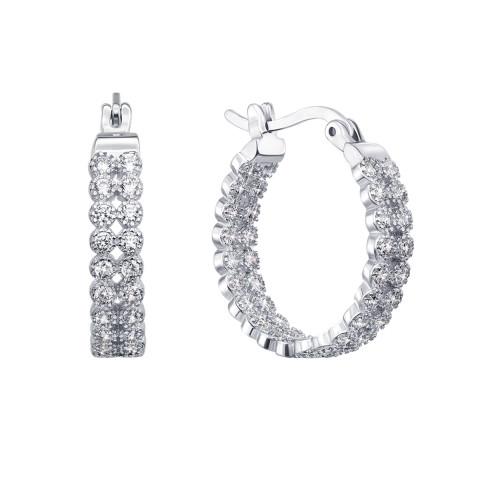Срібні сережки з фіанітами (SE12630-E)