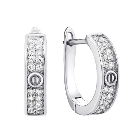 Срібні сережки з фіанітами (СК2Ф/2041)