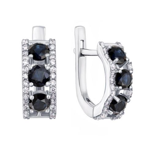 Срібні сережки з гідротермальним сапфіром і фіанітами (2128/9р)