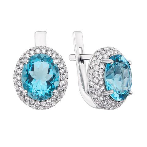 Срібні сережки з блакитним кварцем і фіанітами (2054/9р)
