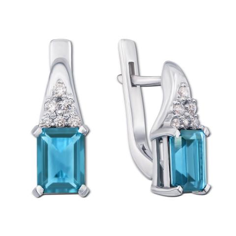 Срібні сережки з блакитним кварцом і фіанітами (2155/9р)