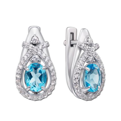 Срібні сережки з блакитним кварцом і фіанітами (2196/9р)