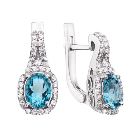 Срібні сережки з блакитним кварцом і фіанітами (2244/9р)