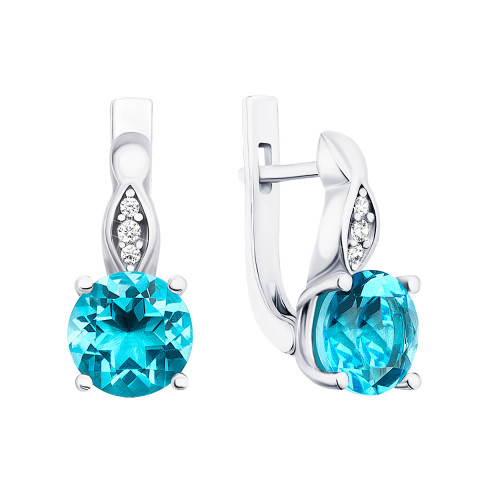 Срібні сережки з блакитним кварцом і фіанітами (2528/9р)