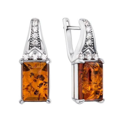 Срібні сережки з бурштином і фіанітами (40324/12/1/655)