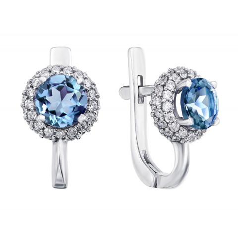 Срібні сережки з кварцом London blue і фіанітами (2071/9р)