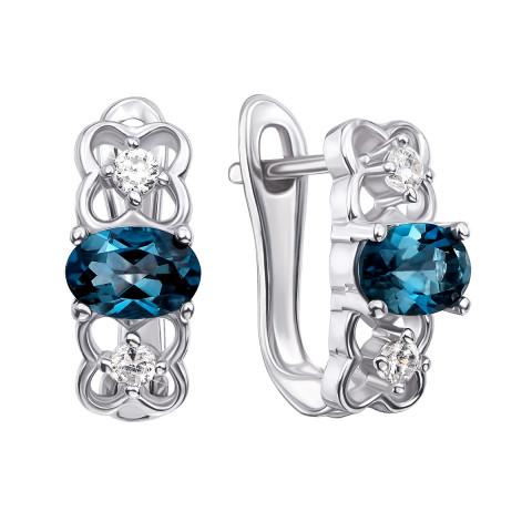 Срібні сережки з лондон-топазом і фіанітами (Тд0009/топld-E)