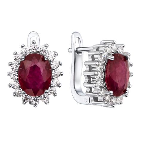 Срібні сережки з рубіном і фіанітами (Тд0031/руб-E)