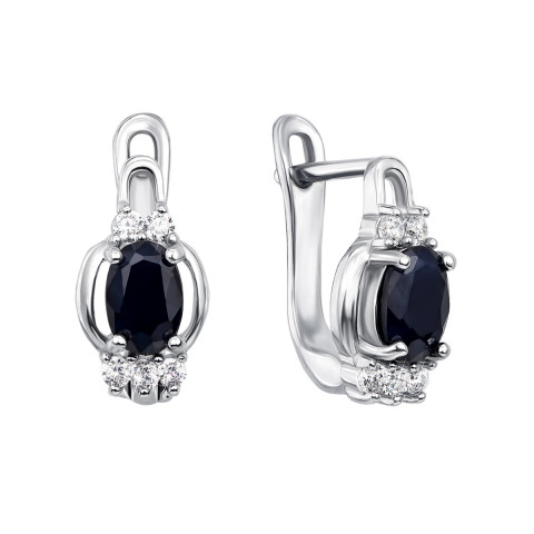Срібні сережки з сапфіром і фіанітами (Тд0007/сап-E)