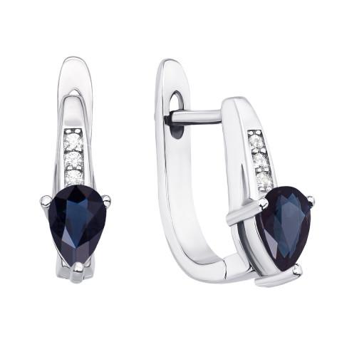 Срібні сережки з сапфіром і фіанітами (Тд0034-E/12/8386)