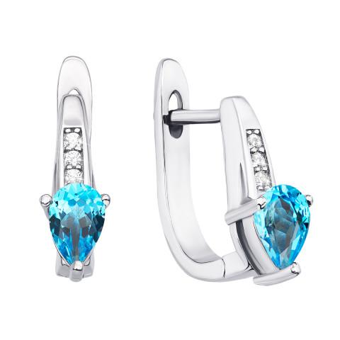 Срібні сережки з топазом і фіанітами (Тд0034-E/12/5516)