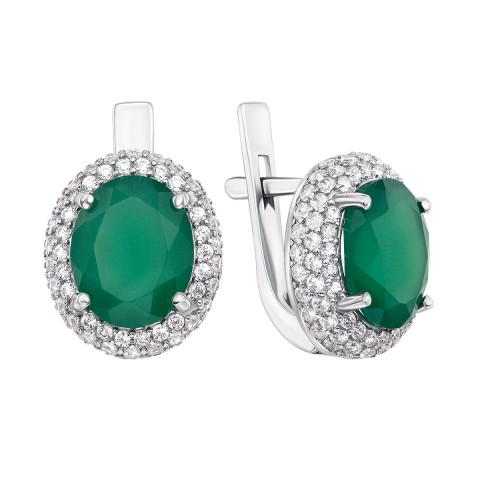 Срібні сережки з зеленим агатом і фіанітами (2054/9р)