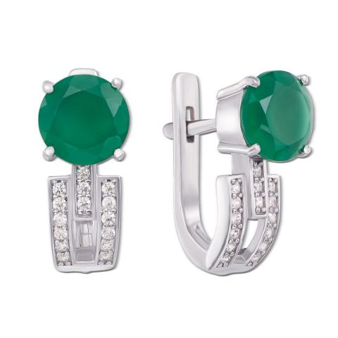 Срібні сережки з зеленим агатом і фіанітами (2081/9р)