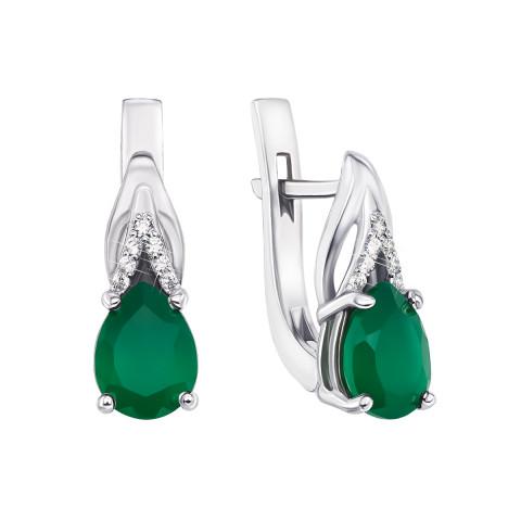 Срібні сережки з зеленим агатом і фіанітами (2485/9р)