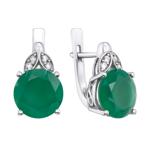 Срібні сережки з зеленим агатом і фіанітами (2511/9р)