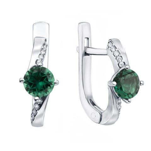 Срібні сережки з зеленим кварцом і фіанітами (2167/9р)