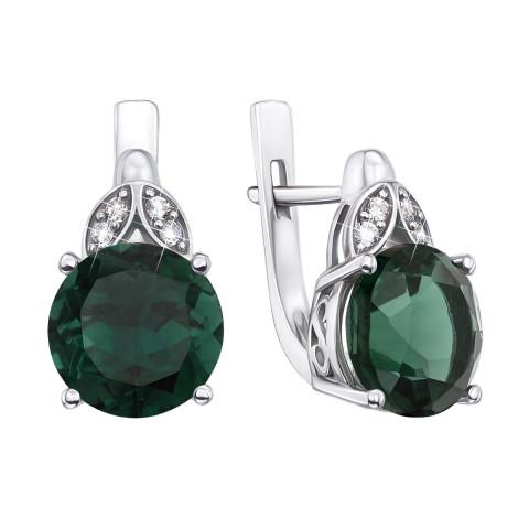 Срібні сережки з зеленим кварцем і фіанітами (2511/9р)