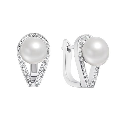 Срібні сережки з перлами і фіанітами (PSS1081-E/12/680)