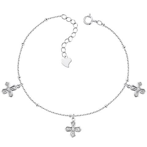 Безрозмірний срібний браслет з фіанітами (1BR69797)