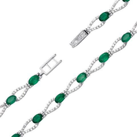 Срібний браслет з зеленим агатом та фіанітами (4108р)