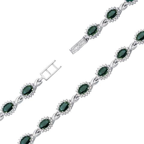 Срібний браслет з зеленим кварцом і фіанітами (4111р)