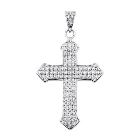 Срібний хрестик з фіанітами (ЛК-0009р)