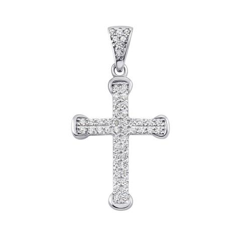 Срібний хрестик з фіанітами (ЛК-0045р)